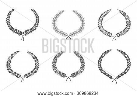 Collection Of Circular Laurel Foliate Black And White Silhouette Depicting An Award, Achievement, He