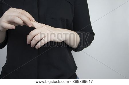 Woman Suffers From Pain In Fingers. Arthritis Or Arthrosis, Cartilage Wear, Rheumatism Of The Joints