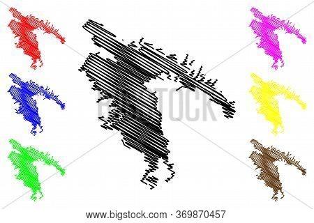 Novorossiysk City (russian Federation, Russia, Krasnodar Krai) Map Vector Illustration, Scribble Ske