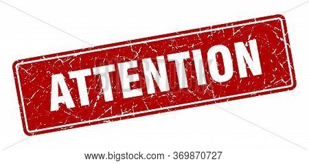 Attention Stamp. Attention Vintage Red Label. Sign