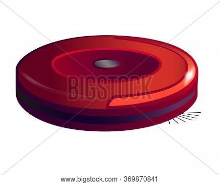 Red, Round Robot Vacuum Cleaner - Vector Full Color Picture. Robotic, Wireless, Self-contained Red V