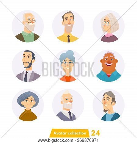 Cheerful Young People Avatar Collection. User Faces. Trendy Modern Style. Flat Cartoon Character Des