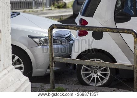 Bumper Scrathing Car Trunk On A Parking Lot. Breaking Rules. Car Accident