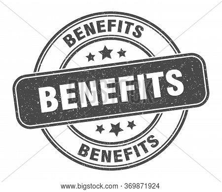 Benefits Stamp. Benefits Label. Round Grunge Sign