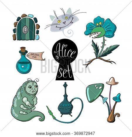 Alice In Wonderland Set With Caterpillar, Magic Drink, Door, Keyhole, Predatory Flower, Cat And Mush