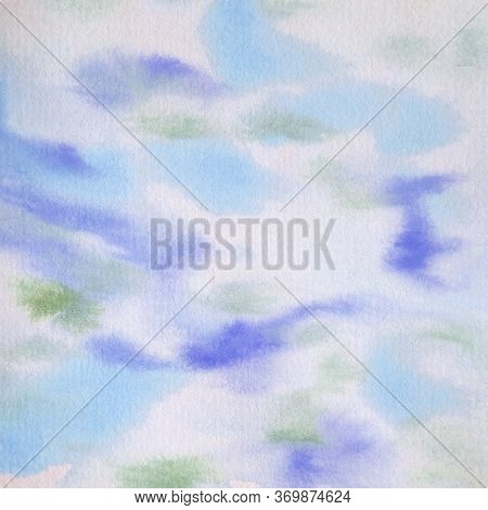 Watercolor Background Blue Purple Green And Ecru Abstract.  Hand Painted 12x12 Design Element Patter