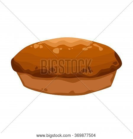 Rye Bread. Isolated On White Background. Vector Flat Color Icon. For Poster And Menu Bakery Shop.