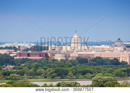 Washington D.c. Skyline With U.s. National Capitol And Potomac River.