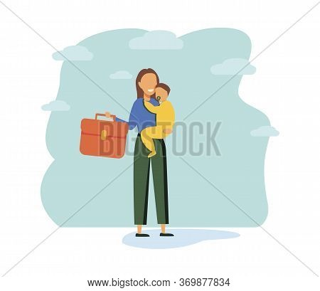 Multitasking Busy Mom And Business Woman, Vector Illustration Tiny Person Concept. A Woman Trying To