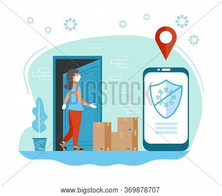 Contactless Delivery Concept Illustration. Woman Ordered Contactless Delivery Via Application. Prote