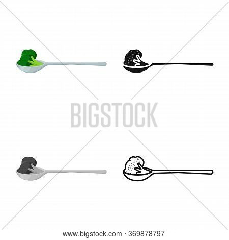 Vector Illustration Of Broccoli And Spoon Icon. Set Of Broccoli And Dinner Stock Vector Illustration