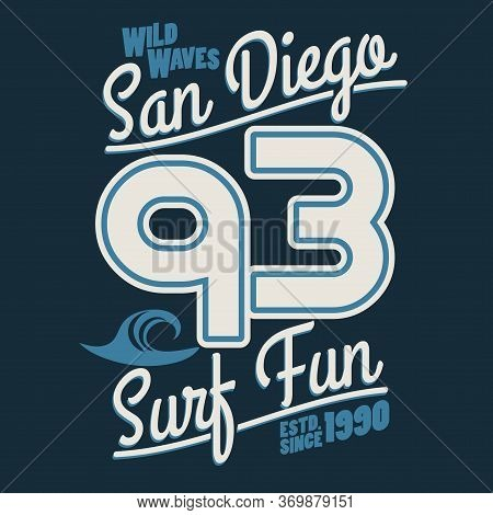 Surfing T-shirt Graphic Design. Surf Lettering San Diego. Vector
