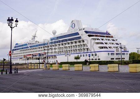 Bordeaux , Aquitaine / France - 10 17 2019 : Majuro Nautica Sea Cruises Boat Travel Luxury Cruise Sh