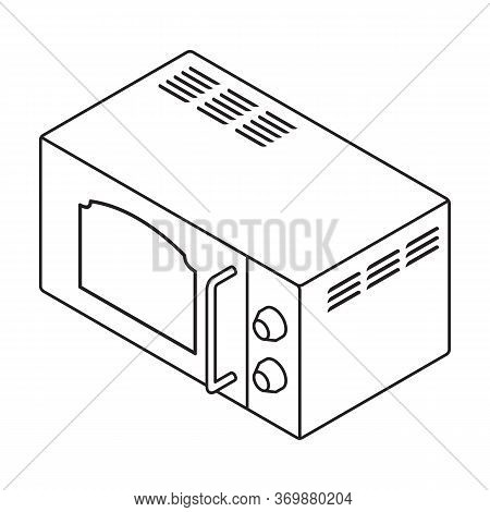 Microwave Vector Icon.line Vector Icon Isolated On White Background Microwave.