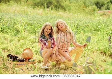 Summer Activity. Sisters Cute Kids Helping At Farm. Girls Planting Plants. Planting And Watering. Ch