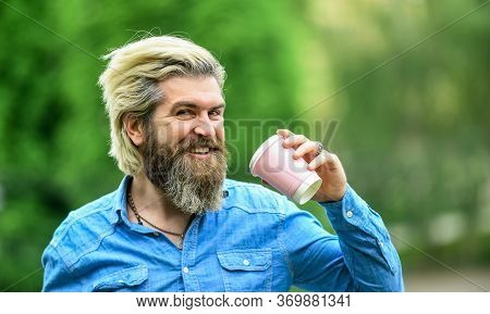 Weekend Morning. Bearded Hipster Guy Wearing Casual Clothes Enjoys Relaxing On Weekend. Morning Drin