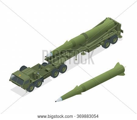 Isometric Army Tractor With A Rocket. Medium Range Ballistic Missile. Conventional High Explosive-un