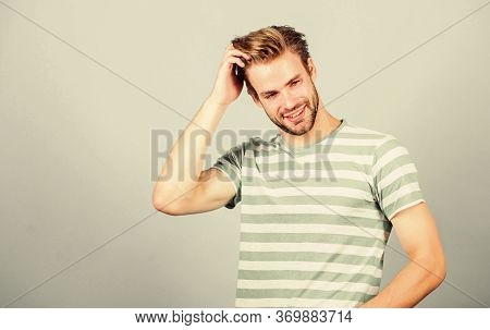 Summer Fashion. Unshaven Student Guy. Male Fashion And Beauty. Perfect Look Of Muscular Man. Man In