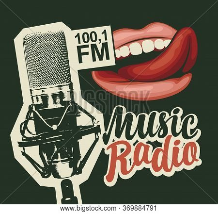 Music Radio Fm Broadcasting Concept. Vector Banner In Retro Style For Music Radio Station With Micro