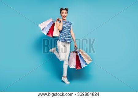 Full Length Photo Of Pretty Lady Carry Many Packs Spree Addicted Shopaholic Rejoicing Shopping Cente