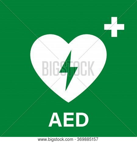 Aed Vector Icon. Emergency Defibrillator Sign Or Icon. Aed Aid Cpr. Vector Green Isolated Icon Cpr.