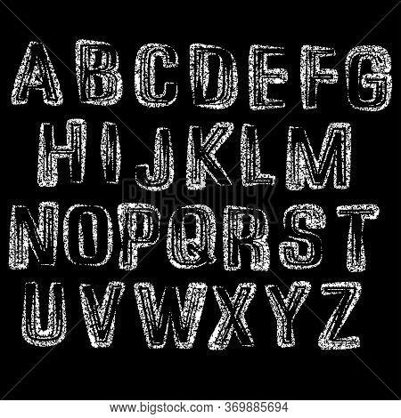 Modern Decorative Typeset.vector Alphabet Illustration On Black Background.