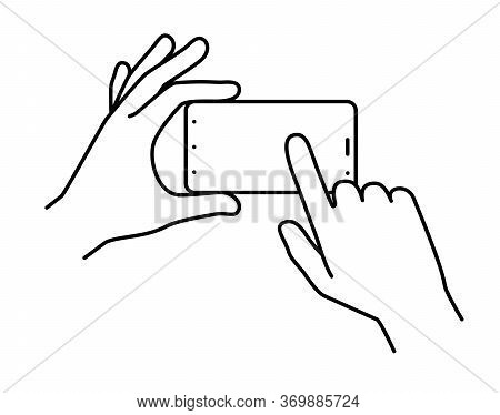 Hands Holding A Smartphone, Finger Touching The Screen. Illustration On A White Background.