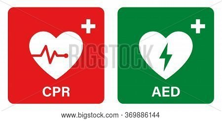 Aed Vector Icon. Emergency Defibrillator Sign Or Icon. Aed Aid Cpr. Vector Green Red Isolated Icon C