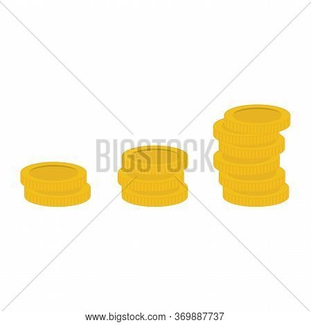 Stacked Gold Coins Vector Illustration. Coins Icon, Coins Money. Gold Coins Modern Flat Design On Wh