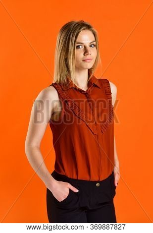 Hands In Pocket. Style For Real Woman. Wear Trendy Color Only. Woman In Classy Clothes. Young Woman