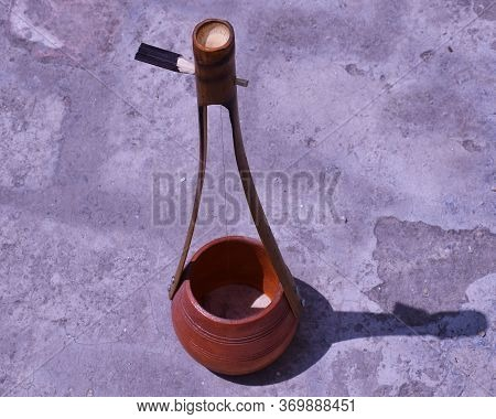 Close Up Of Indian Folk Musical Instrument Known As Ektara Means One-stringed Musical Instrument. Th