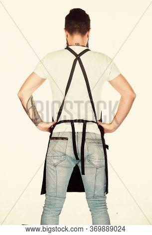Restaurant Staff. Hipster Professional Barista Apron Uniform. Fast Food Restaurant. Waiter Or Barten