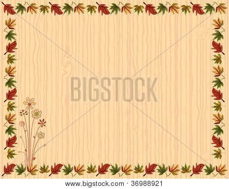 Autumn Greeting Card With Leaves Border
