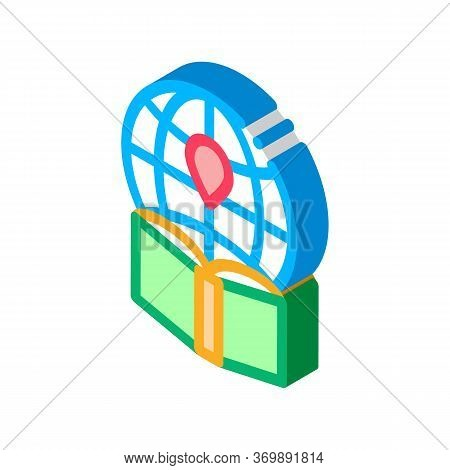 Map Of Island, Cartography Icon Vector. Isometric Geography Island And Compass With Measuring Scale