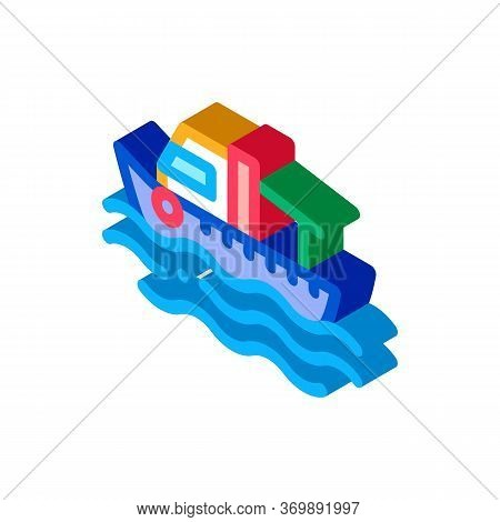 Fishing Boat On Water Wave Icon Vector. Isometric Motor Boat, Sea Transport, Cruise Motorboat Sign.