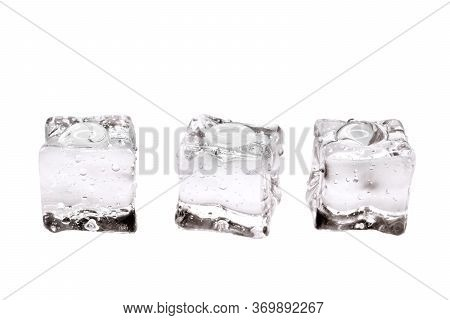 Water​ Drops​ On​ Ices. Crystal Clear Ices Cube​s On White Background.ices Accumulate With Water Dro