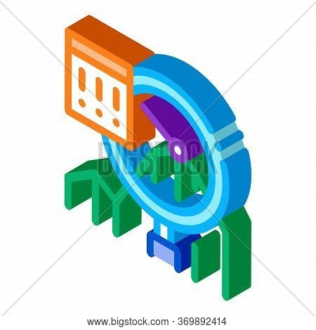 Infographic Peak Research Icon Vector. Isometric Sme Infographic, Magnifier Glass And Exclamation Ma