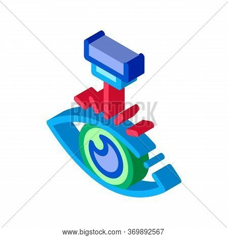 Eye Laser Correction Device Icon Vector. Isometric Medicine Clinic Optometry Ray For Correct Eye Vis