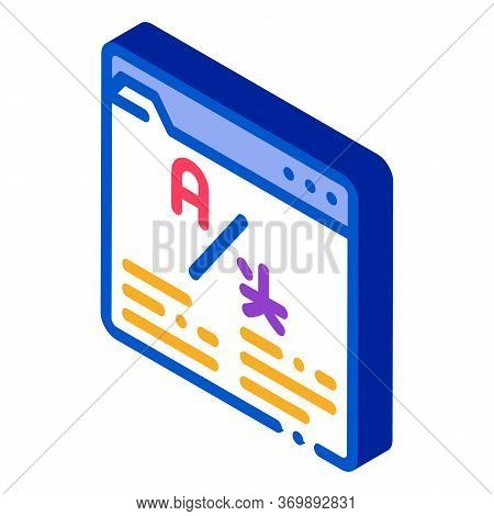 Online Web Site Translator Icon Vector. Isometric Internet Translator, Browser And Cyberspace For Tr