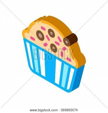 Muffin Delicious Baked Food Icon Vector. Isometric Yummy Muffin Cake Covered Sweet Candies On Top Si