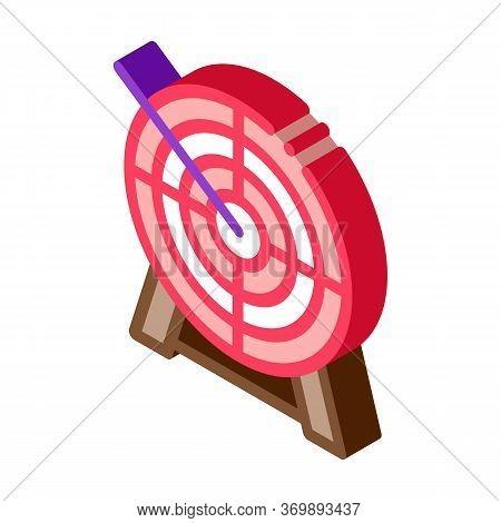Arrow In Center Of Target Icon Vector. Isometric Archery Arrow Bullseye Accuracy Wooden Desk Sportiv