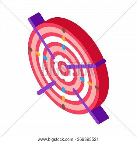 Archery Target With Arrows Icon Vector. Isometric Tournament Or Competition Archery Activity Sportiv