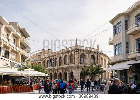 Crete, Greece - May 01, 2019: Local People, Tourists Walking On A Famous Heraklion Street In Histori