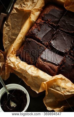 Delicious Fresh Baked Healthy Vegan Moist Dark Chocolate Brownies Dessert Or Sponge Cake With Coffee