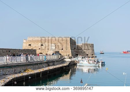 Crete, Greece - May 01, 2019:  Yachts And Ferry Boat In The Port Of Heraklion. Panoramic And Top Vie