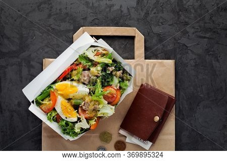 Nicoise Salad With Tuna In Paper Box On Dark Background Flat Lay.take Away Of Natural Organic Meals.