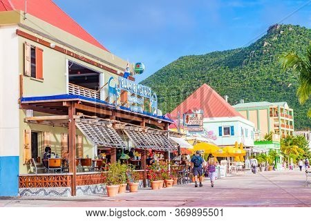 Philipsburg, Sint Maarten - November 16 2018: Blue Bitch Restaurant And Other Shops And Buildings On