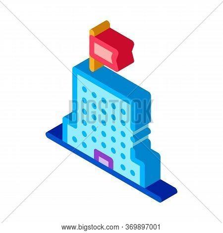 Skyscraper Flag Icon Vector. Isometric Skyscraper Flag Sign. Color Isolated Symbol Illustration