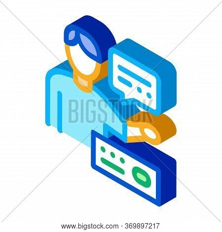 Human Speaking Icon Vector. Isometric Human Speaking Sign. Color Isolated Symbol Illustration