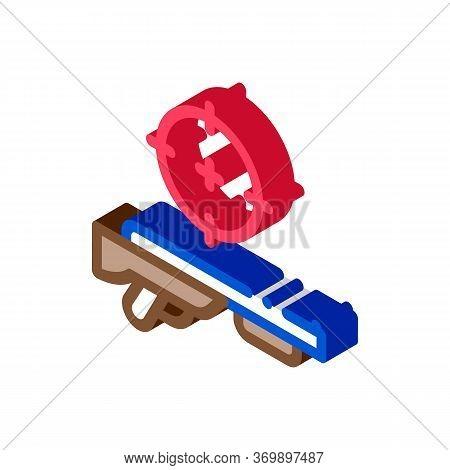 Gun Targeting Icon Vector. Isometric Gun Targeting Sign. Color Isolated Symbol Illustration